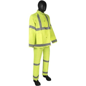DuraWear® PVC/Polyester 3-Piece Lime Green Rainsuit with Reflective Stripes