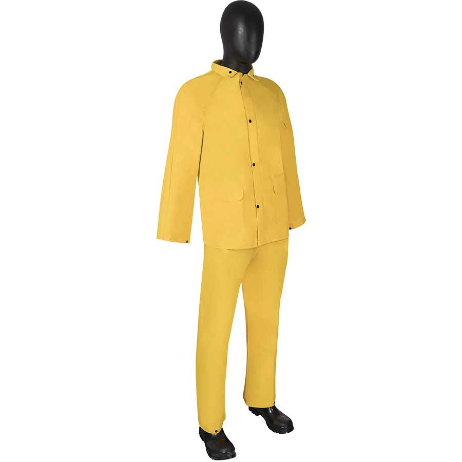 DuraWear® PVC/Nylon/PVC 3-Piece Yellow Rainsuit