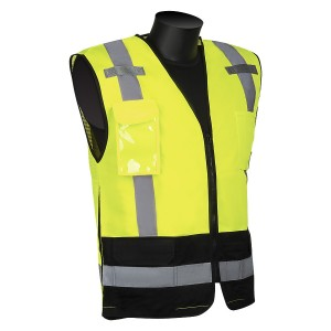 Class 2 - Solid Front Mesh Back Surveyor's Vest with Black Bottom