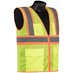 Class 2 - Safety Vest (Mesh Front and Back - Two Tone Stripes)